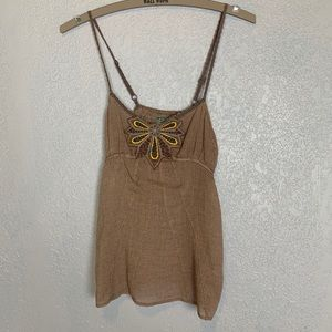 Free People crochet strap top with bead/embroidery
